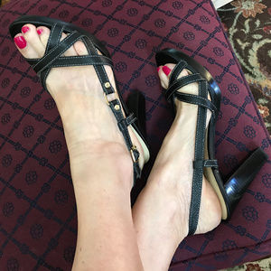Strappy Black Ralph Lauren Leather High Heels 10M